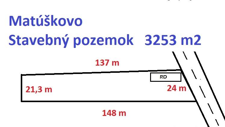 Stavebný pozemok 3253 m2 v obci Matúškovo (okres Galanta).