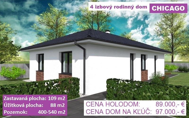 "4 izbový rodinný dom ""CHICAGO"" , 109 m2, pozemok 400-540 m2, obec Košúty"