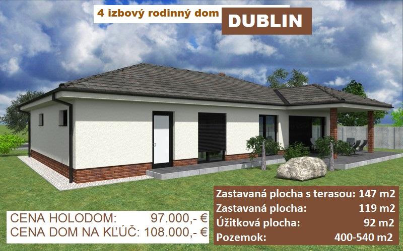 """4 izbový rodinný dom """"DUBLIN"""", 119 m2 + prekrytá terasa 28 m2, pozemok od 500-600 m2, obec Košúty"""