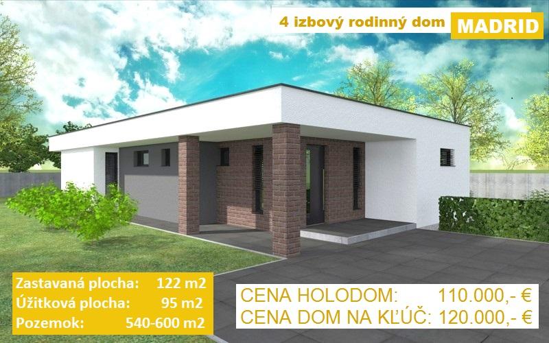 """KVALITNÁ NOVOSTAVBA 4 izbový rodinný dom """"MADRID"""", 122 m2, pozemok od 540-600 m2, obec Košúty"""