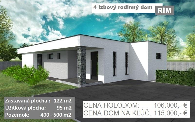 """KVALITNÁ NOVOSTAVBA 4 izbový rodinný dom """"RÍM"""", 122 m2, pozemok od 400-500 m2, obec Košúty. 106.000 €, na kľúč 115.000 €"""