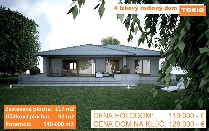 """KVALITNÁ NOVOSTAVBA 4 izbový rodinný dom """"TOKIO"""", 117 m2, pozemok od 540-600 m2, obec Košúty"""