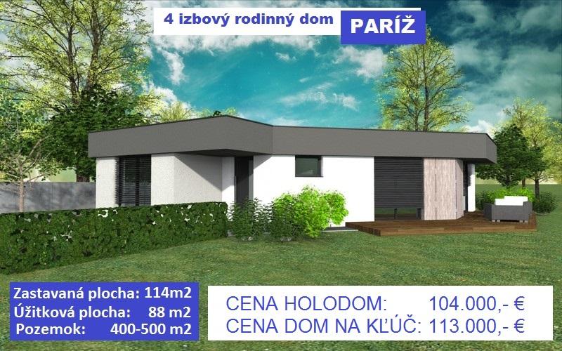 "KVALITNÁ NOVOSTAVBA – 4 izbový rodinný dom ""PARÍŽ"", 114 m2, pozemok 400-500 m2, obec Košúty, 104.000 €, na kľúč 113.000 €"