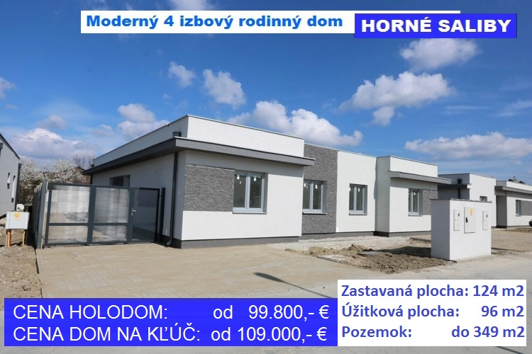 NOVOSTAVBA 4 izbový rodinný dom 97 m2 s terasou 15 m2, pozemok od 303-349 m2, obec Horné Saliby. Holodom 99.800 €, na kľúč 109.000 €