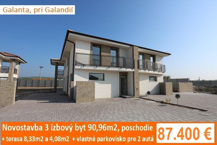 Novostavba poschodie – 3 izbový byt 90,96 m2 s 2 terasami a parkoviskom pre 2 autá. Galanta, 87.400 €