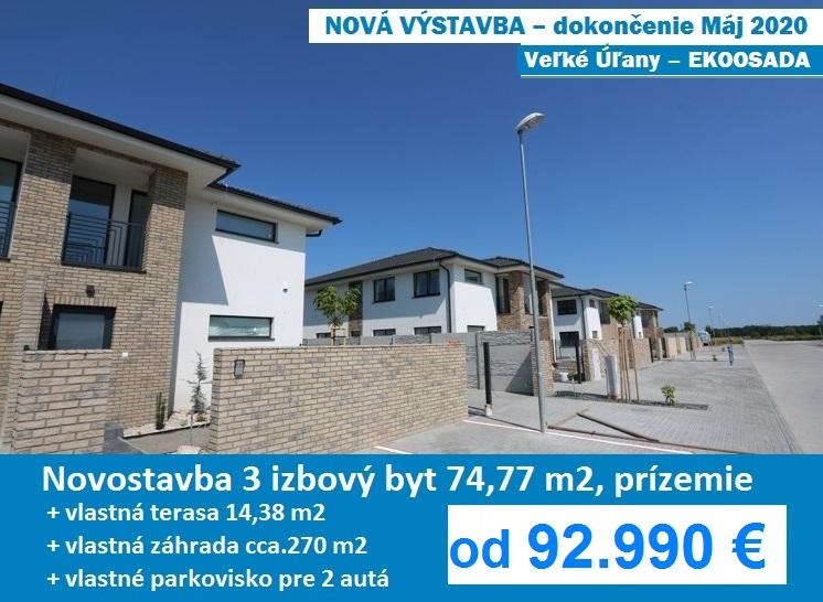 NOVÁ VÝSTAVBA – Máj 2020. Novostavba – 3 izbový byt 91,33 m2 s terasou, vlastnou záhradou a parkoviskom pre 2 autá. Veľké Úľany