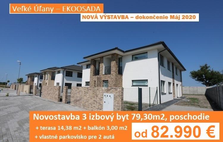 NOVÁ VÝSTAVBA – Máj 2020. Novostavba – 3 izbový byt 96,68 m2 s balkónom, terasou a parkoviskom pre 2 autá. Veľké Úľany