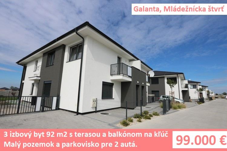 NOVOSTAVBA NA POSCHODÍ 3 izbový byt s terasou, malým pozemkom a parkoviskom pre 2 autá. Galanta, Mládežnícka štvrť
