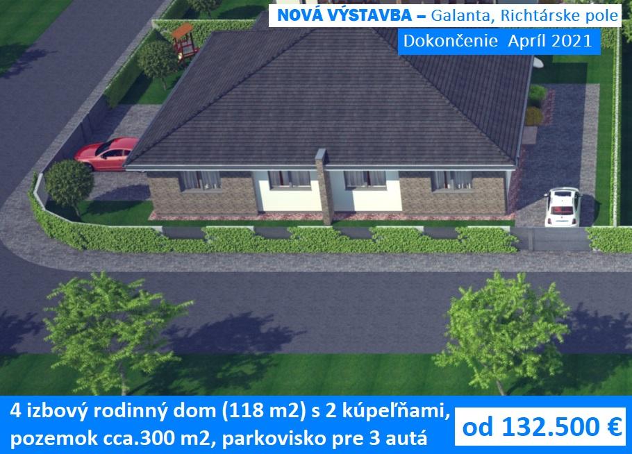 4 izbový dom 118 m2 pozemkom 300 m2. Galanta, Richtárske pole 132.500 €