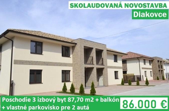 POSCHODIE * Skolaudovaná novostavba 3 izbový byt 91,25 m2 s balkónom a parkoviskom pre 2 autá. Diakovce