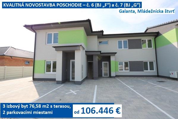 KVALITNÁ NOVOSTAVBA POSCHODIE – 3 izbový byt 76,58 m2 s terasou, 2 parkovacími miestami. Galanta, Mládežnícka štvrť. Ceny od 106.446 €